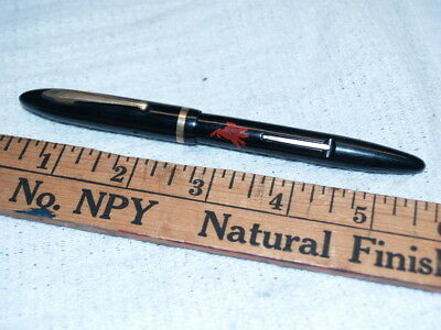 Sheaffer black long thin Balance fountain pen with early Mobil Oil logo (6468)