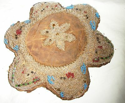 Antique Iroquois Native American Beaded Pillow or Whimsey Souviner Old
