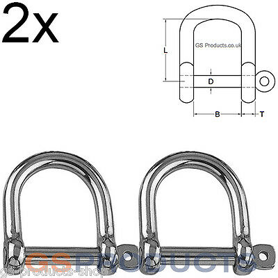 2x 10mm Wide Jaw Dee Shackle Stainless Steel (Lifting D Shackle, Marine Shackle)