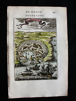 1683 MALLET - Orig. VIEW of the City and HARBOUR of RHODES ISLAND, GREECE TURKEY