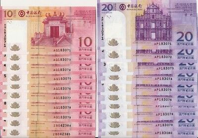 Banco Da China Macau  10,20 Patacas 2013 Same Nos on pairs  Gem U  8 pairs