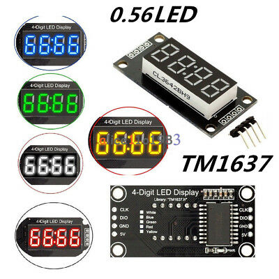 """Red/Blue/Green/White 0.56"""" inch TM1637 4-Bits LED Clock Tube Display for Arduino"""
