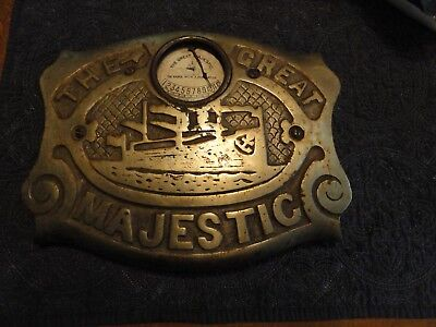 """OLD """"The Great Majestic"""" Stove Plate w/Ship & Temperature Gauge"""