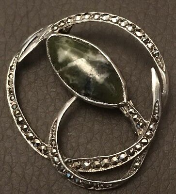 Vintage Solid Silver Marcasite And Connemara Marble Brooch Fully Hallmarked