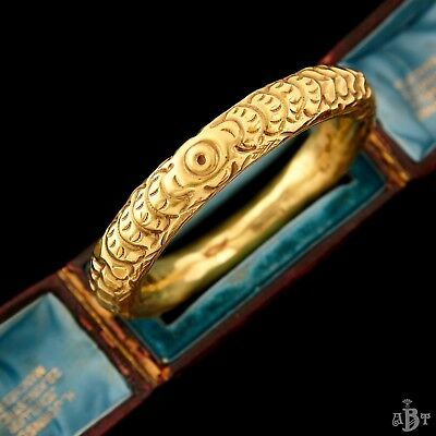 Antique Vintage Art Deco Brass Chinese Dragon Scale Feathers Bangle Bracelet