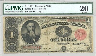 $1 Series 1891 Treasury (Coin) Note in PMG Very Fine 20 comment-free holder