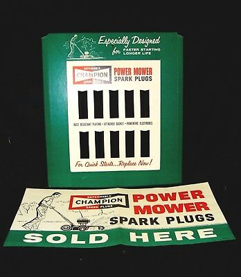 1961 Champion Spark Plug Power Lawn Mower Display NOS Poster NOT Metal Sign MINT