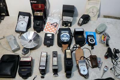 Lot Camera Flash & Light Meters Canon Minolta Honeywell Vivitar Bowers Gossen