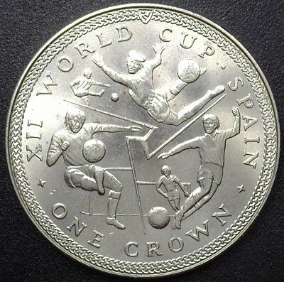 Isle Of Man 1982 World Cup Soccer  Crown Exceptional Uncirculated  Km#100