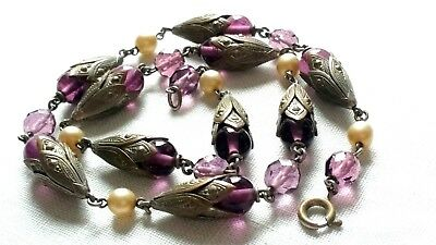 Czech Antique Art Deco Purple Glass Bead Necklace