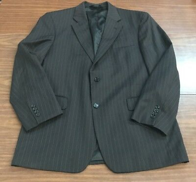 Jos. A. Bank Mens Suit Black with gray striped 100% Wool 43R Pants: 36x32