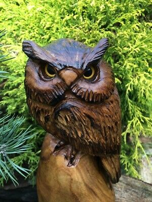 CHAINSAW CARVING HORNED OWL catalpa wood CARVING STATUE RUSTIC LOG GARDEN DECOR