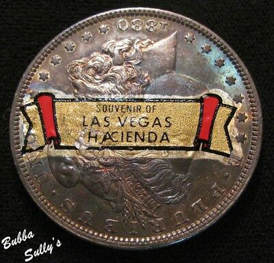 1880 Morgan Silver Dollar <> Souvenir of Las Vegas Hacienda Sticker