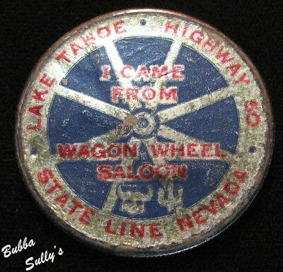 1922 Peace Silver Dollar <> Wagon Wheel Saloon Lake Tahoe Sticker
