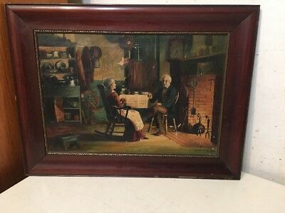 Antique Interior Scene Painting Older Couple By Fireplace New England Cottage
