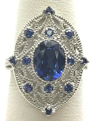 Sterling Silver Antique Style Oval Blue Tanzanite Swirl Loop Wide Cocktail Ring