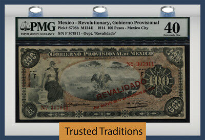 TT PK S708b 1914 MEXICO 100 PESOS PMG 40 EXTREMELY FINE POP 3 ONLY 1 FINER!
