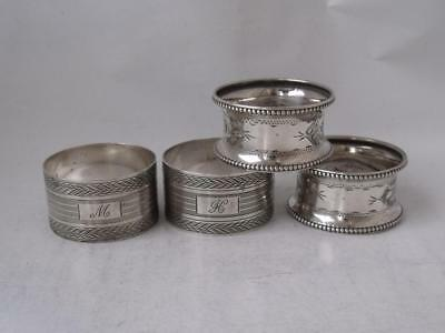 2 Pairs of Solid Sterling Silver Napkin Rings: English Hallmarks/ 61 g