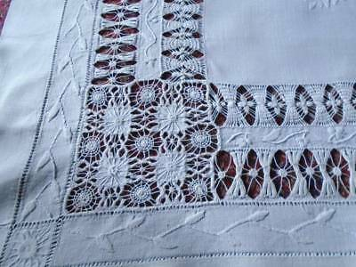 Exquisite Antique White Linen Tablecloth~ Complex  Drawn & Woven Lace~Embroidery
