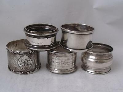 5 Various English Hallmarks Solid Sterling Silver Napkin Rings/ 81 g