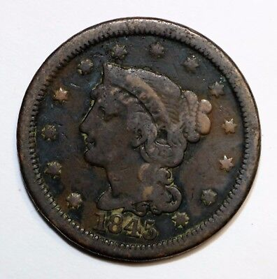1845 Braided Hair Large Cent   N17067