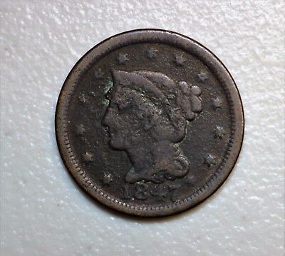1847 Braided Hair Large Cent   N17069