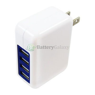 100 Fast 4 Port Wall Charger 3.1 Amp for Android Samsung Galaxy Note 2 3 4 5 6 8