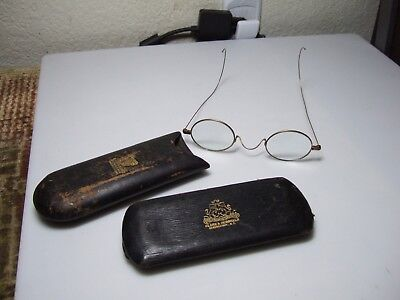 Antique Reading Spectacles Glasses with 2 Cases