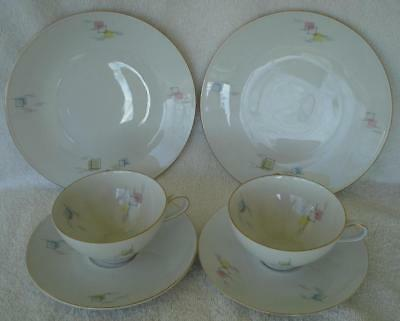 Vtg Mitterteich Bavaria 66 Geometric Pattern 2 Cup Saucers 2 Salad Plate Germany