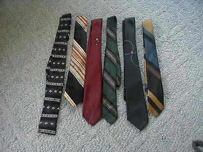 lot 6 mens vintage ties 1950s 1960s skinny ties rat pack retro style