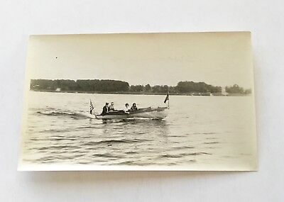 Vintage 1922 B/W Photo - Boat - Silver Lake - Greenfield - Flags