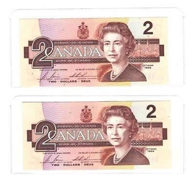 Two $2.00 Canada Bank Notes 1986 CBI Consecutive Numbers