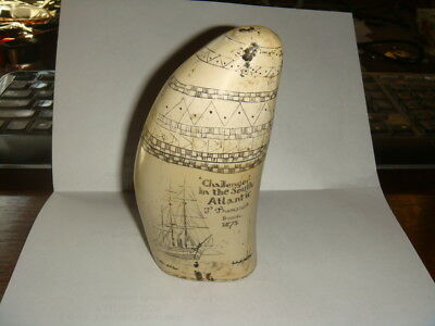 Replica Faux WHALE'S TOOTH - Challenger in the South Atlantic 1875 w/Penguins
