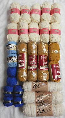 Mixed Lot of Yarn 4++ pounds lb white blue yellow 29 skeins