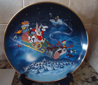 What's Up Santa? Limited Edition Plate Bugs Bunny Looney Tunes Franklin Mint
