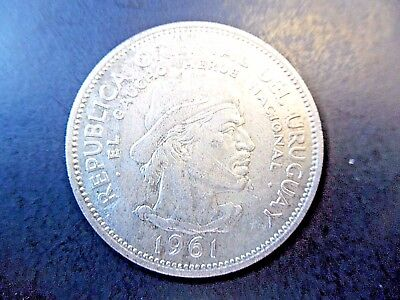 1961 Republica Oriental Uruguay~Silver 10 Pesos~.900 Silver Beautiful Coin