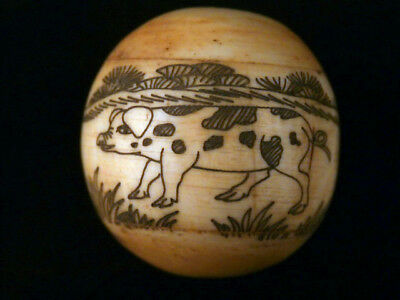 Beautiful Chinese Hand Carved *Pig/Poem* Bead O051