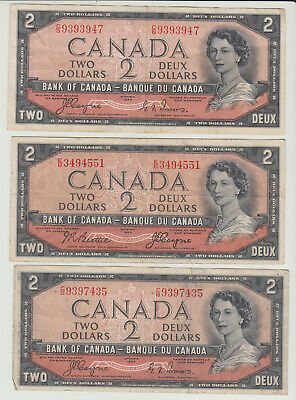 Lot of 3 1954 Canada Devil's Face $2 Banknotes VG-F