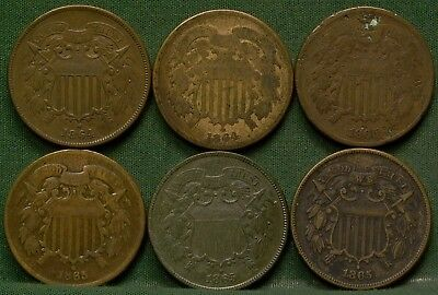 Lot of (6) 2 Cent Pieces AG-XF