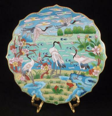 """Vintage CHINESE 10"""" CLOISONNE ENAMEL SCALLOPED SCENIC PLATE with CRANES"""