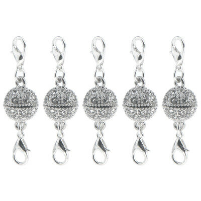 5Pcs Silver Plated Crystal Magnetic Clasps Connectors DIY Jewelry Findings