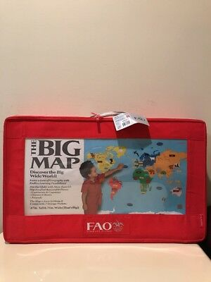 FAO SCHWARZ The Big Map with Carry Case 60+ Pieces Discover Big Wide World
