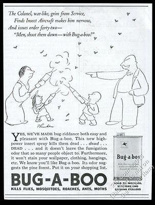 1935 James Thurber insect vs family art Bug-A-Boo insecticide vintage print ad