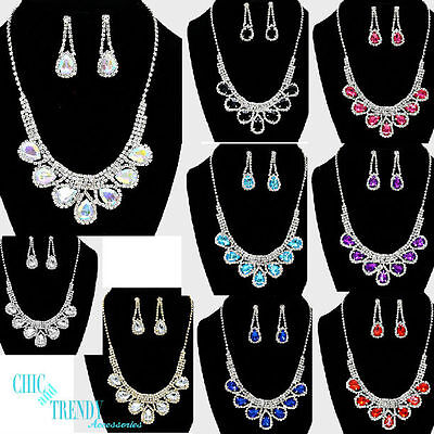 Ravishing Color And Clear Crystal Prom Formal Wedding Necklace Jewelry Set Chic