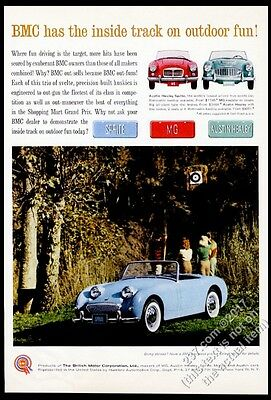 1961 Austin Healey Sprite sky blue car photo 3000 MG MGA vintage print ad
