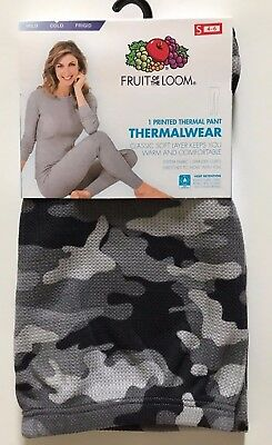 Womens Fruit of the Loom PrintedThermal Pants-Grey Camouflage-Size S(4-6) New