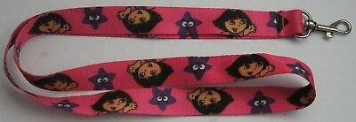 "Dora the Explorer Lanyard Pink with Dora and Purple Star 19"" Long VGC"