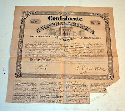 CSA Confederate 1863 $1000 bond March 1863 with coupons