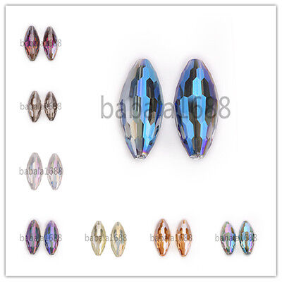 Faceted Rugby Oval Crystal Glass Charm Loose Spacer Beads 35x15mm Free Shipping