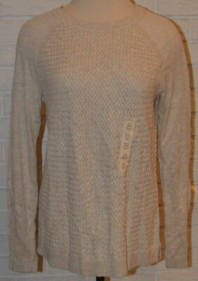Women's Sonoma Beige Long Sleeve Basket Stitch Pullover Top Size XS